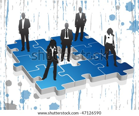 Business people on the puzzle - stock vector