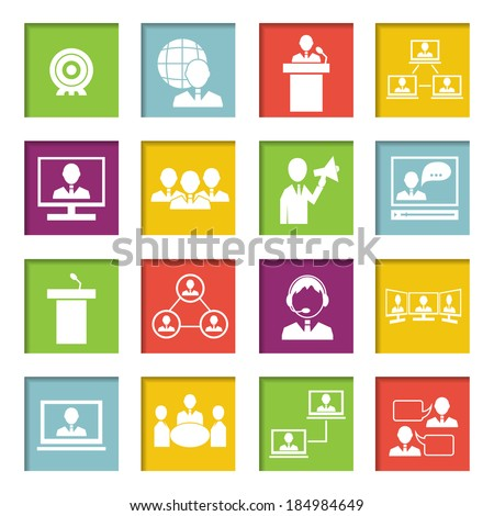Business people online meeting strategic concepts icons set of virtual presentation conference and speech isolated vector illustration - stock vector