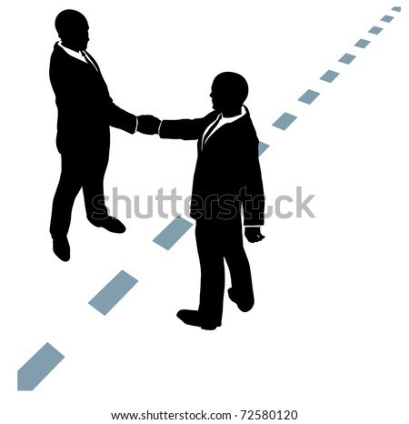 Business people partner handshake in collaboration agreement on dotted line - stock vector