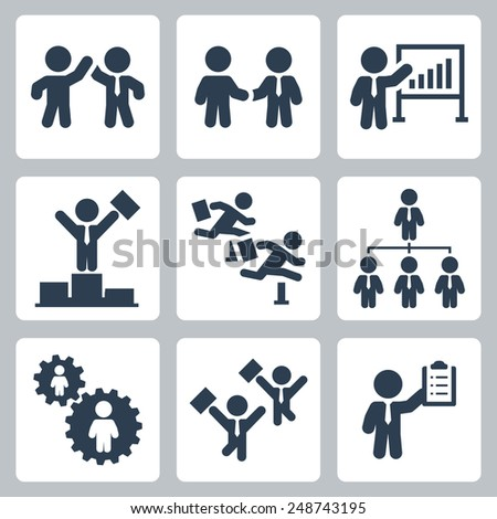 Business people, partnership and competition vector icon set