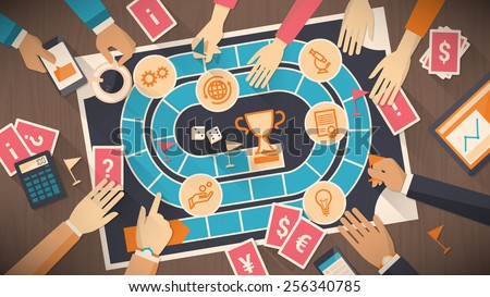Business people playing together with a board game with business concept, strategy and competition concept - stock vector