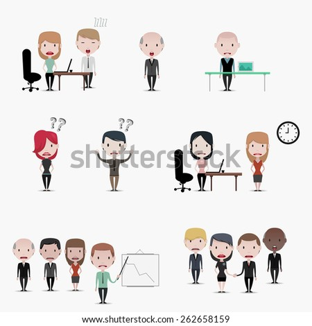 Business people: Problems at work - stock vector