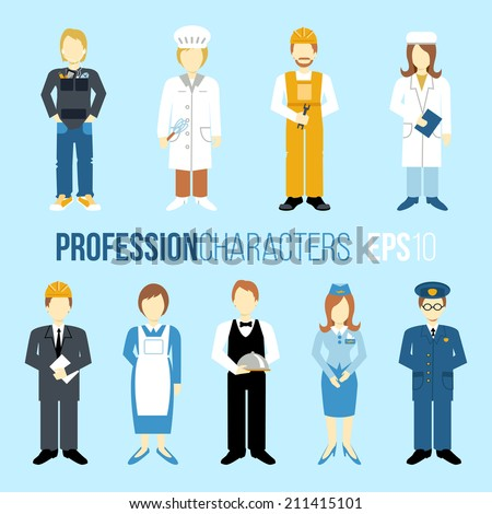 Business people professions cartoon characters set of manager engineer chef cook waitress stewardess isolated vector illustration - stock vector