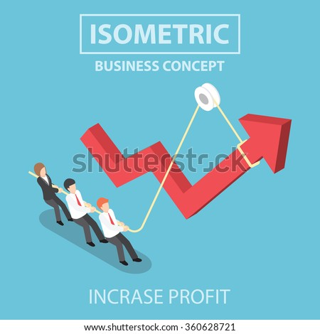 Business people pulling up arrow graph by using rope, Flat 3d web isometric infographics design, VECTOR, EPS10 - stock vector