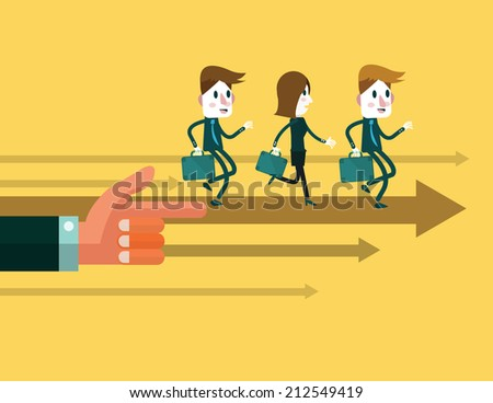 Business people run forward, control by big hand .business teams and leadership concept. abstract illustration. vector - stock vector