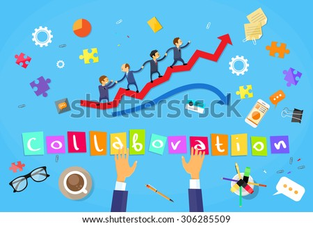 Business People Running Red Arrow Graph Up Climbing Cartoon Businesspeople Group Team Collaboration Concept Vector Illustration - stock vector
