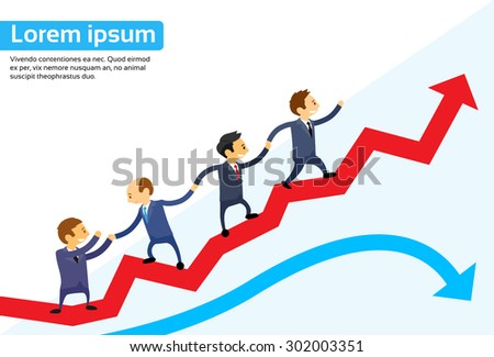 Business People Running Red Arrow Graph Up Climbing Cartoon Businesspeople Group Team Vector Illustration - stock vector