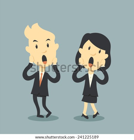 business people scary - stock vector