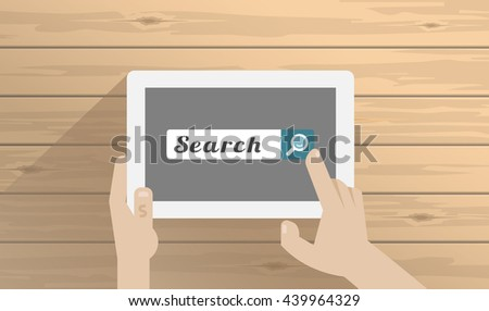 business, people, search, web and technology concept. Vector illustration
