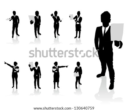 business people set holding up paper signs - stock vector