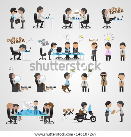 Business People Set - Isolated On Gray Background - Vector Illustration, Graphic Design Editable For Your Design. Team Working In Office.   - stock vector