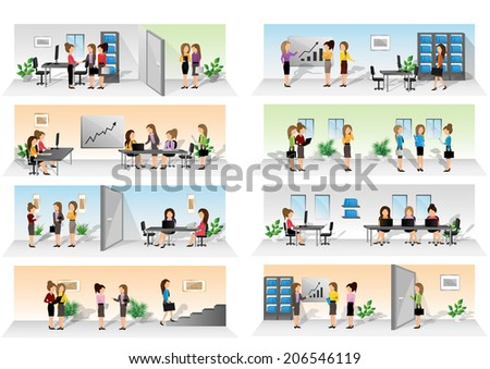 Business People Set - Isolated On White Background - Vector Illustration, Graphic Design Editable For Your Design. Team Working In Office - stock vector