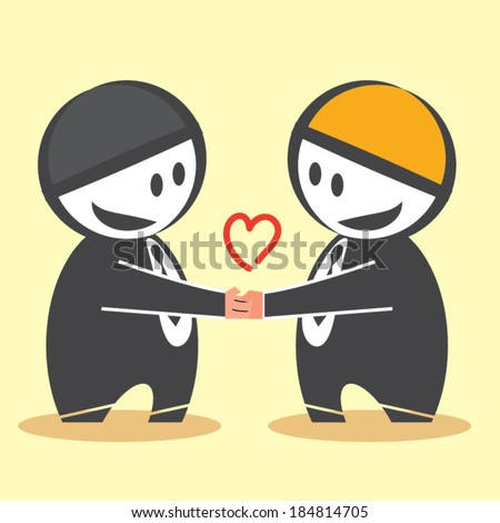 Business people shaking hands over a deal - stock vector