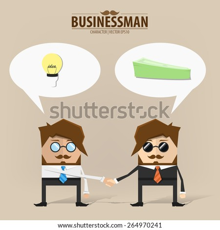 Business people shaking hands over a deal,Vector EPS10. - stock vector