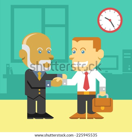 Business people shaking hands vector flat color illustration - stock vector