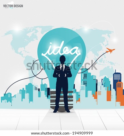 Business people silhouette and light bulb as inspiration concept with building background, vector illustration. - stock vector