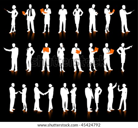 Business People Silhouette Super Set 26 unique high-detailed silhouettes featuring beautiful sexy models Each Silhouette is grouped File is AI 8 compatible and easy to manage - stock vector