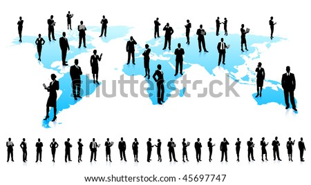 Business People Silhouette Unique high-detailed silhouettes featuring beautiful sexy models  File is easy to manage - stock vector