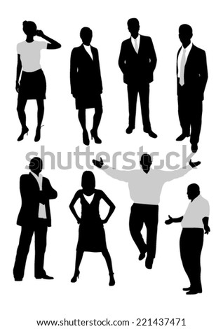 Business people silhouettes - stock vector
