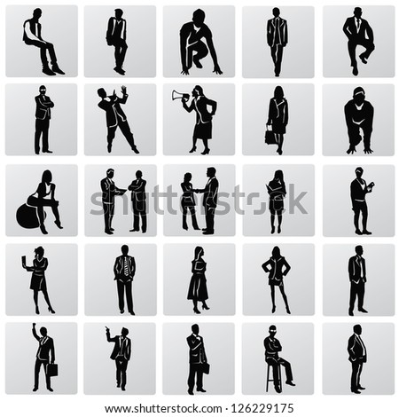 Business people silhouettes,vector - stock vector
