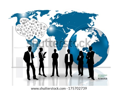 Business people silhouettes. Vector illustration.