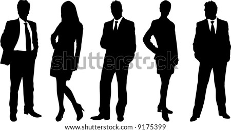 business people silhouettes vector set