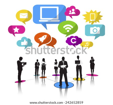 Business People Silhouettes Working and Social Networking Concept Vector - stock vector