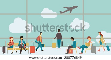 Business people sitting and walking in airport terminal, business travel concept. Flat design.  - stock vector