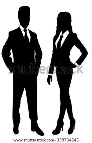 business people standing  - stock vector