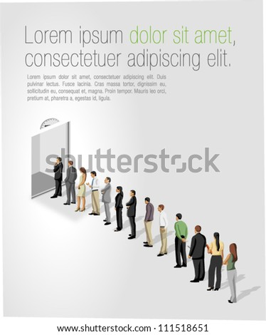 Business people standing in a line in front of a elevator / lift door. - stock vector