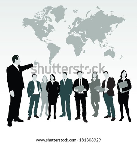 Business people standing near world's map.  Vector illustration - stock vector