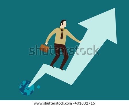 business people standing on the arrow graph. isolated on blue background. flat illustration.  - stock vector