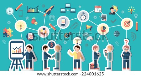 Business people stickers businessman cartoon characters and communication elements concept vector illustration - stock vector