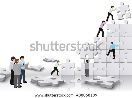 Business People Team Build A Puzzle - Isolated On White Background. Graphic Design Vector Illustration. For Web, Websites, Print Material