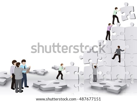 Business People - Team Build A Puzzle - Isolated On White Background. Vector Illustration, Graphic Design. For Web, Websites, Print Material