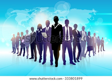 Business People Team Crowd Walk Black Silhouette Concept Businesspeople Group Human Resources over World Map Background Vector Illustration - stock vector