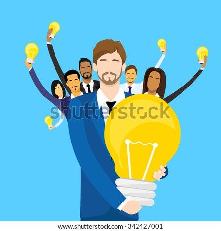 Business People Team Group Idea Concept Hold Light Bulb Flat Vector Illustration - stock vector