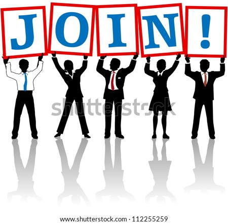 Business people team hold up sign letters calling members to join - stock vector