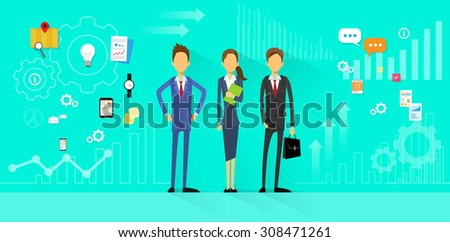 Business People Team Manager Human Resources Flat Design Vector Illustration  - stock vector