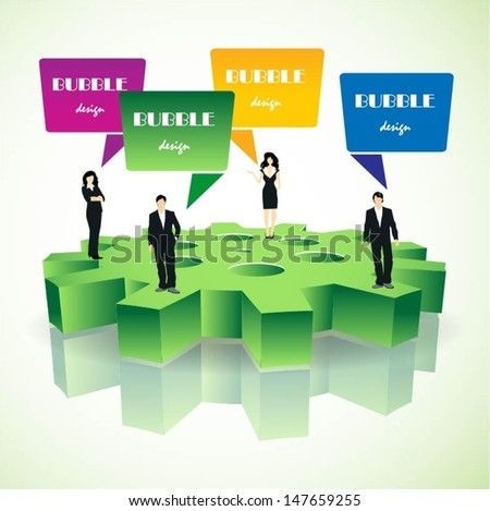 Business people team standing on a 3d gear with speech bubbles vector - stock vector