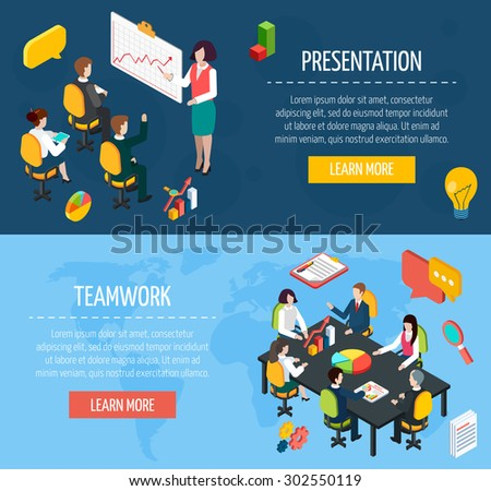 Business people teamwork and presentation interactive website isometric banners with learn more button abstract isolated vector illustration - stock vector