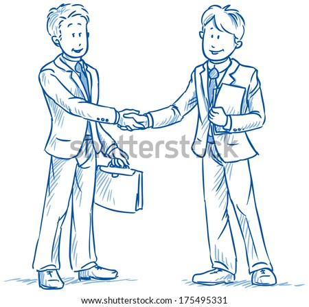 Business people, two men, smiling and shaking hands, with documents in hand,  hand drawn sketch vector illustration - stock vector