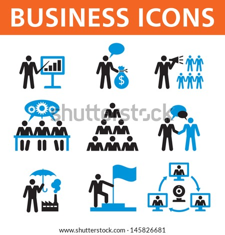 Business people vector icons set. Human character illustration. Business man vector collection. Design elements.  - stock vector