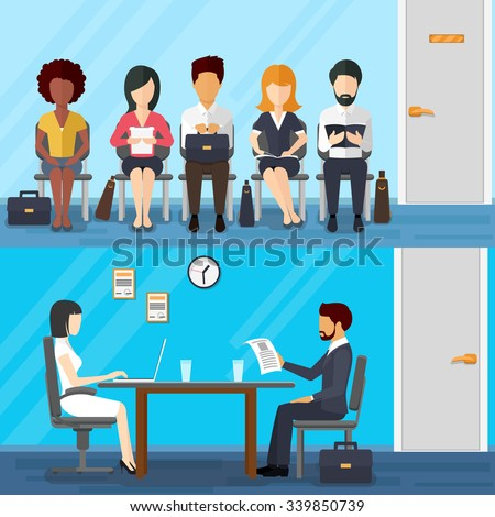 Business people waiting  job interview. Waiting businesswoman and businessman. Recruitment concept  flat design style. Vector illustration - stock vector