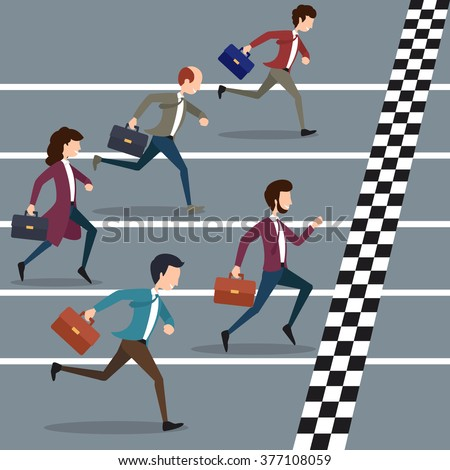 Business people winning marathon. Success competition, run to the goal. Vector illustration - stock vector