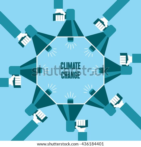 Business people with a megaphone yelling, Climate Change - illustration - stock vector