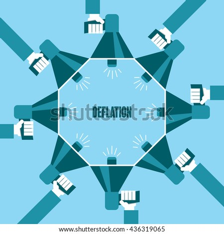 Business people with a megaphone yelling, Deflation - illustration - stock vector