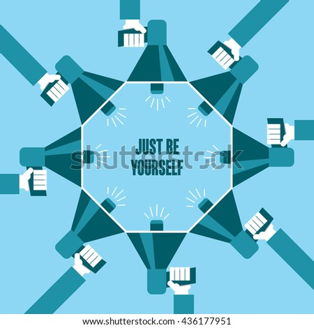 Business people with a megaphone yelling, Just Be Yourself  - illustration - stock vector