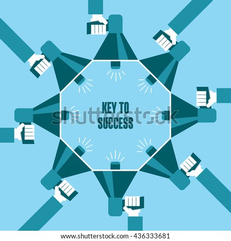 Business people with a megaphone yelling, Key To Success - illustration - stock vector