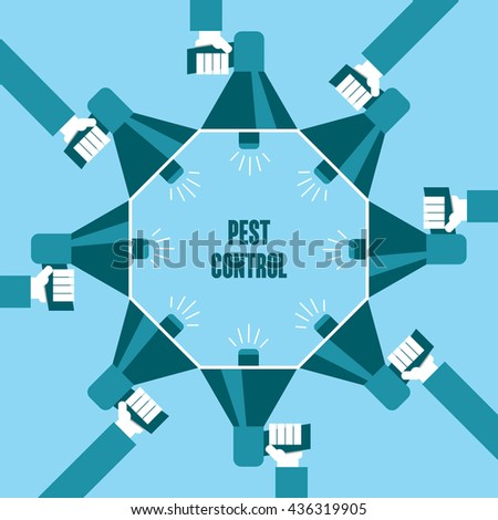 Business people with a megaphone yelling, Pest Control - illustration - stock vector